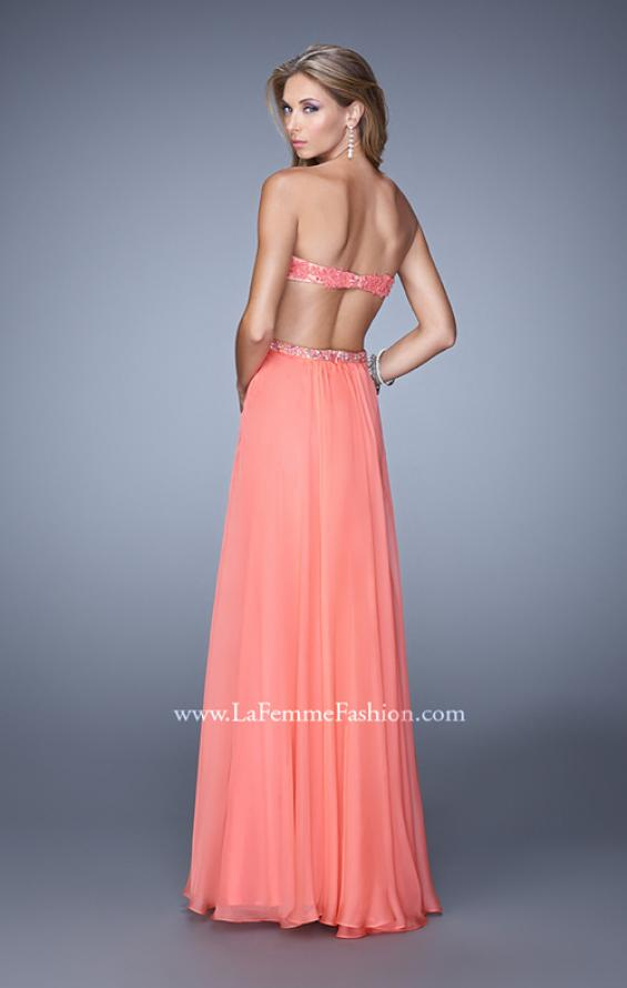 Picture of: Long Sweetheart Neck Gown with Lace Appliques and Belt in Coral, Style: 20822, Back Picture