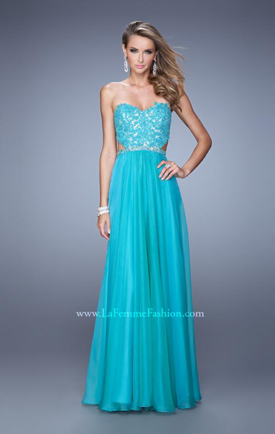 Picture of: Long Sweetheart Neck Gown with Lace Appliques and Belt in Aqua, Style: 20822, Detail Picture 3