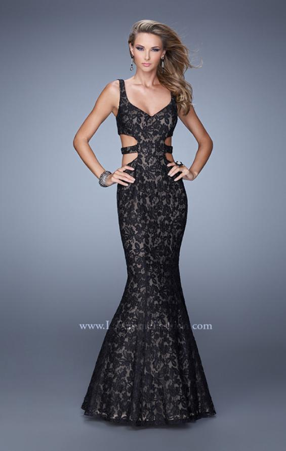 Picture of: Long Lace Mermaid Dress with Cut Outs, Style: 20824 in Black, Main Picture