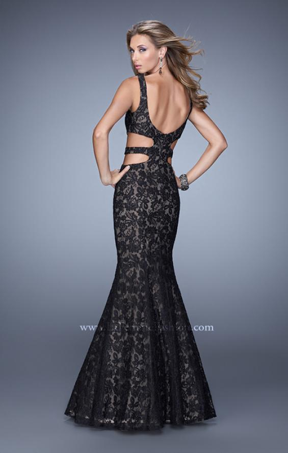 Picture of: Long Lace Mermaid Dress with Cut Outs in Black, Style: 20824, Back Picture