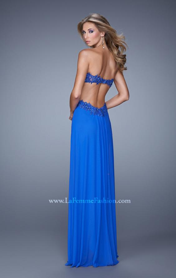 Picture of: Long Jersey Prom Dress with Beaded Lace Trim, Style: 20826, Back Picture