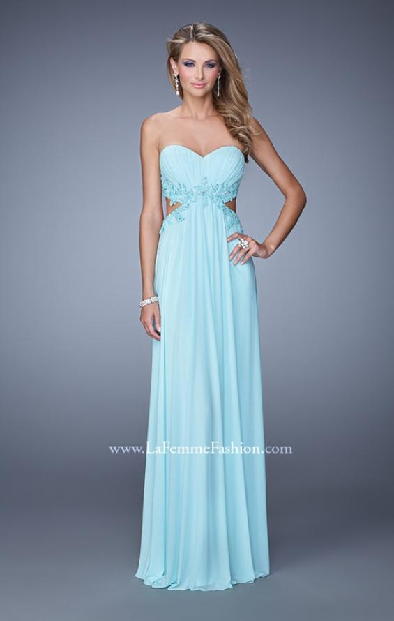 Picture of: Long Jersey Prom Dress with Beaded Lace Trim, Style: 20826, Detail Picture 1