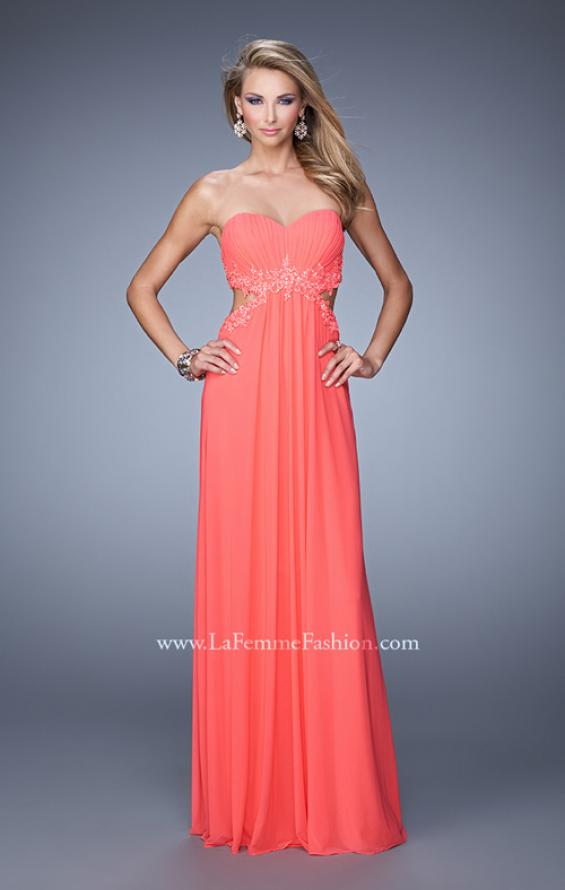 Picture of: Long Jersey Prom Dress with Beaded Lace Trim, Style: 20826, Detail Picture 2