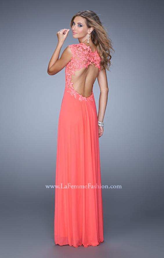 Picture of: Cap Sleeve Net Jersey Dress with Keyhole Back, Style: 20844, Back Picture