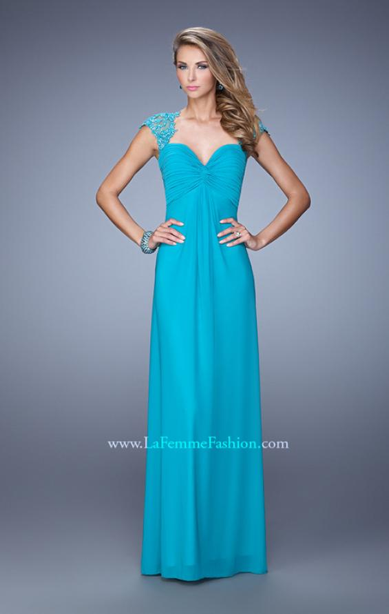 Picture of: Cap Sleeve Net Jersey Dress with Keyhole Back, Style: 20844, Detail Picture 1