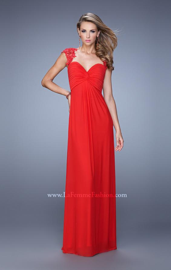 Picture of: Cap Sleeve Net Jersey Dress with Keyhole Back, Style: 20844, Detail Picture 2