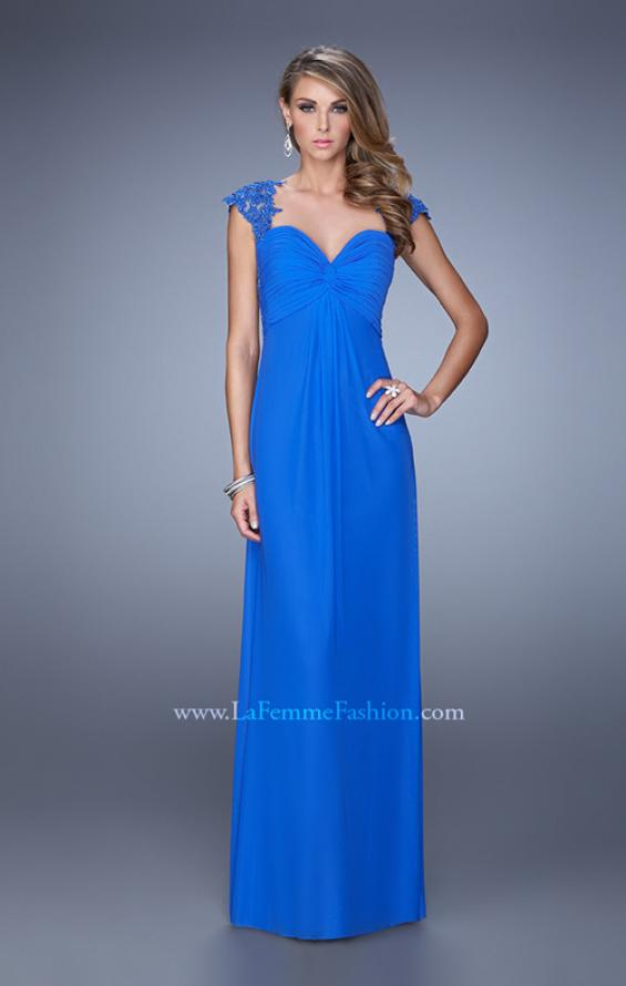 Picture of: Cap Sleeve Net Jersey Dress with Keyhole Back, Style: 20844, Detail Picture 4