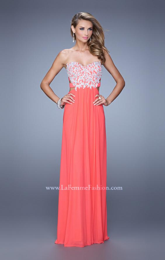 Picture of: Embellished Net Jersey Dress with Cut Outs and Side Straps, Style: 20861, Detail Picture 2