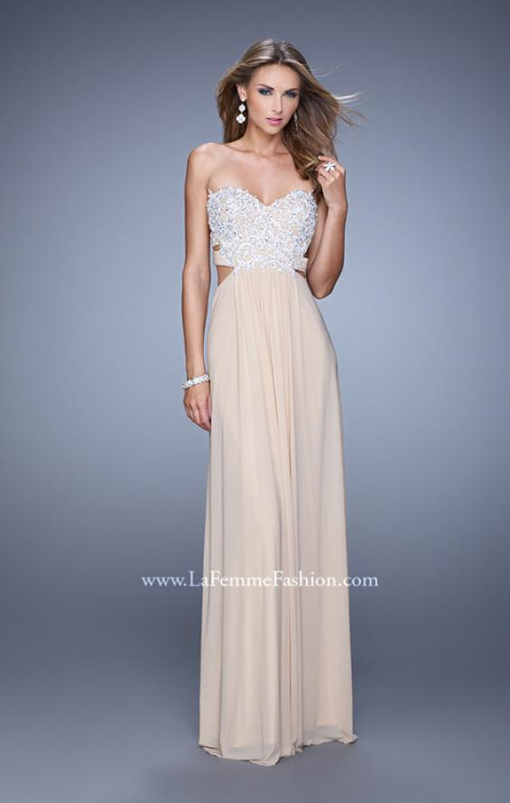 Picture of: Embellished Net Jersey Dress with Cut Outs and Side Straps, Style: 20861, Detail Picture 3