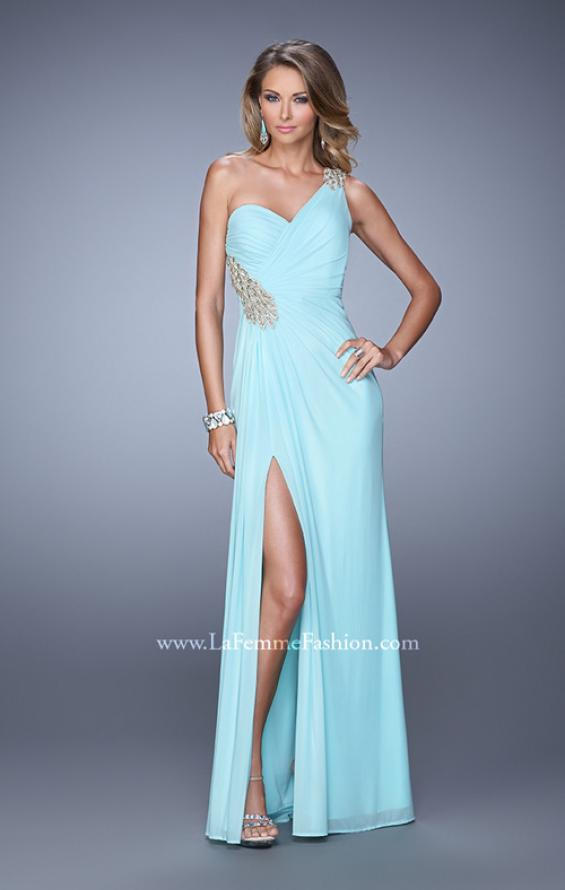 Picture of: One Shoulder Long Jersey Prom Dress with Open Back in Aqua, Style: 20865, Detail Picture 1