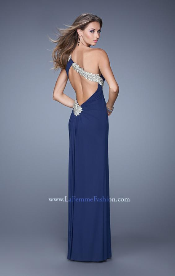 Picture of: One Shoulder Long Jersey Prom Dress with Open Back in Blue, Style: 20865, Detail Picture 2