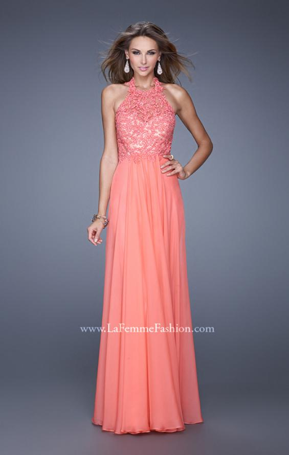 Picture of: Halter Neck and Lace Bodice Long Prom Gown in Coral, Style: 20874, Main Picture