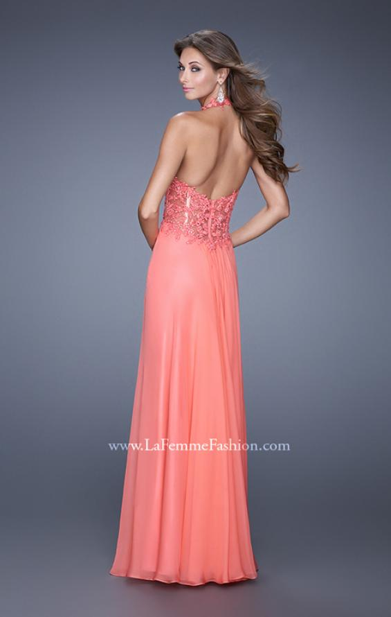 Picture of: Halter Neck and Lace Bodice Long Prom Gown in Coral, Style: 20874, Back Picture