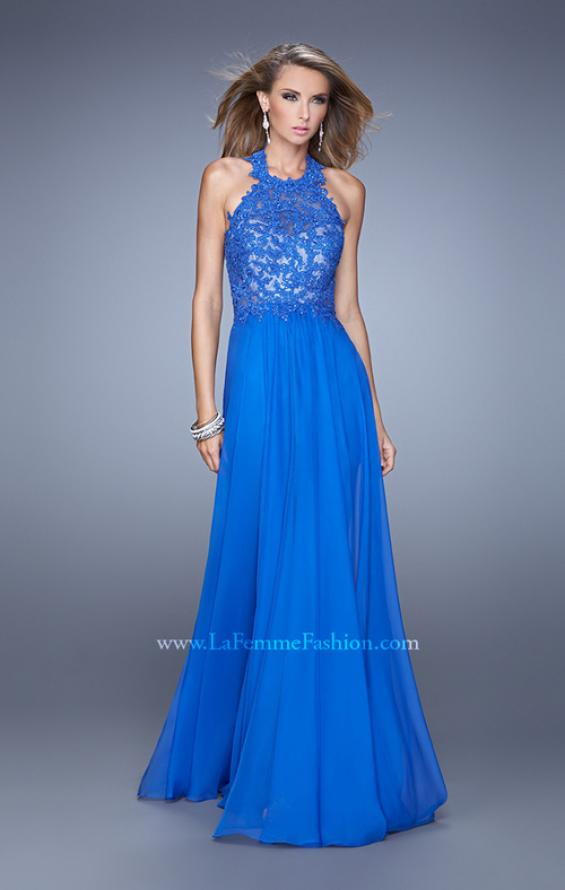 Picture of: Halter Neck and Lace Bodice Long Prom Gown in Blue, Style: 20874, Detail Picture 1