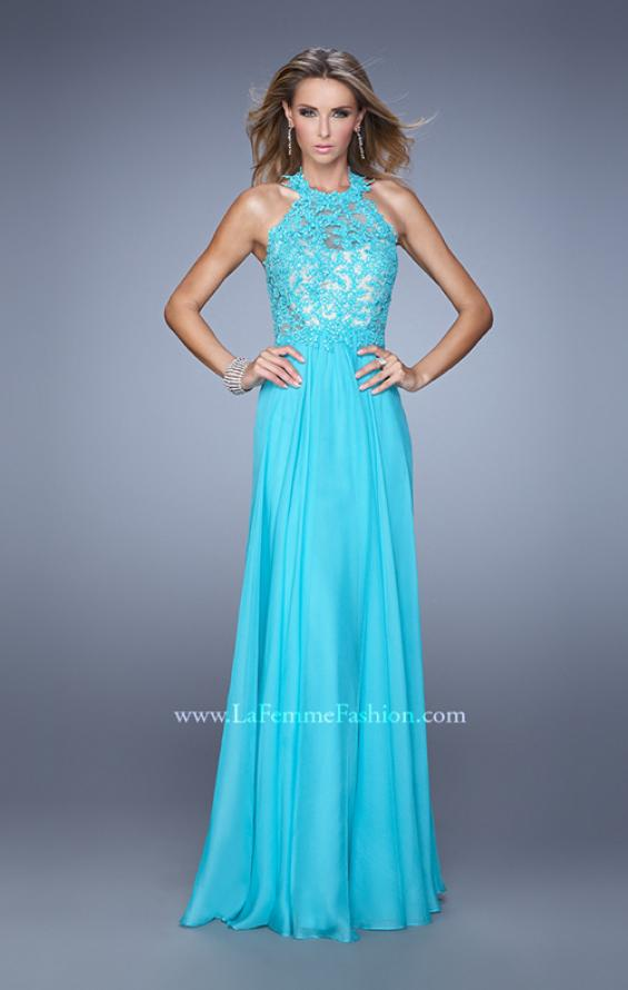 Picture of: Halter Neck and Lace Bodice Long Prom Gown in Aqua, Style: 20874, Detail Picture 2