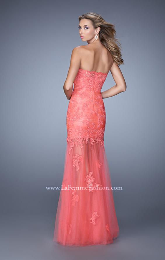 Picture of: Long Form Fitting Prom Dress with Sheer Tulle Skirt in Coral, Style: 20881, Back Picture