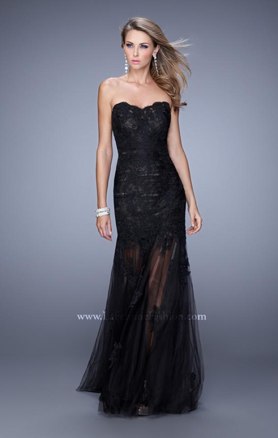 Picture of: Long Form Fitting Prom Dress with Sheer Tulle Skirt in Black, Style: 20881, Detail Picture 1
