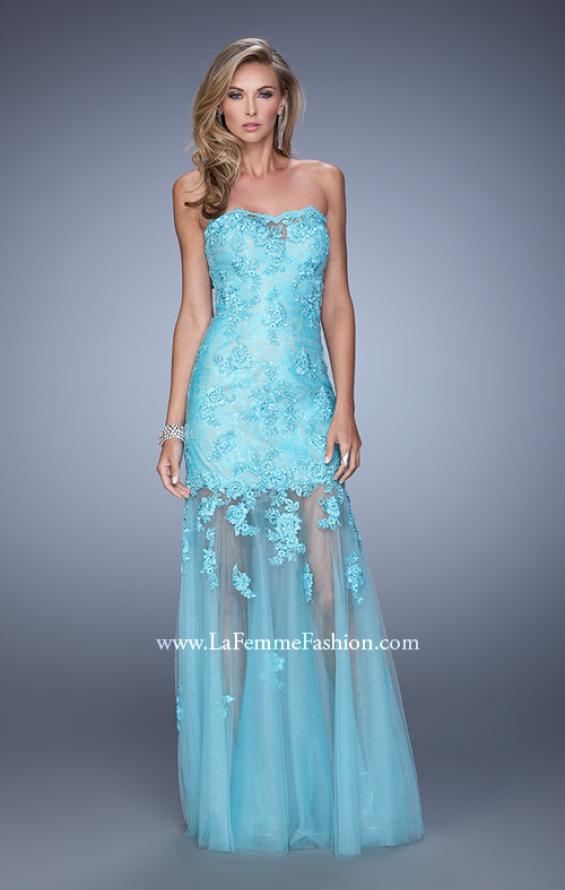 Picture of: Long Form Fitting Prom Dress with Sheer Tulle Skirt in Aqua, Style: 20881, Detail Picture 2