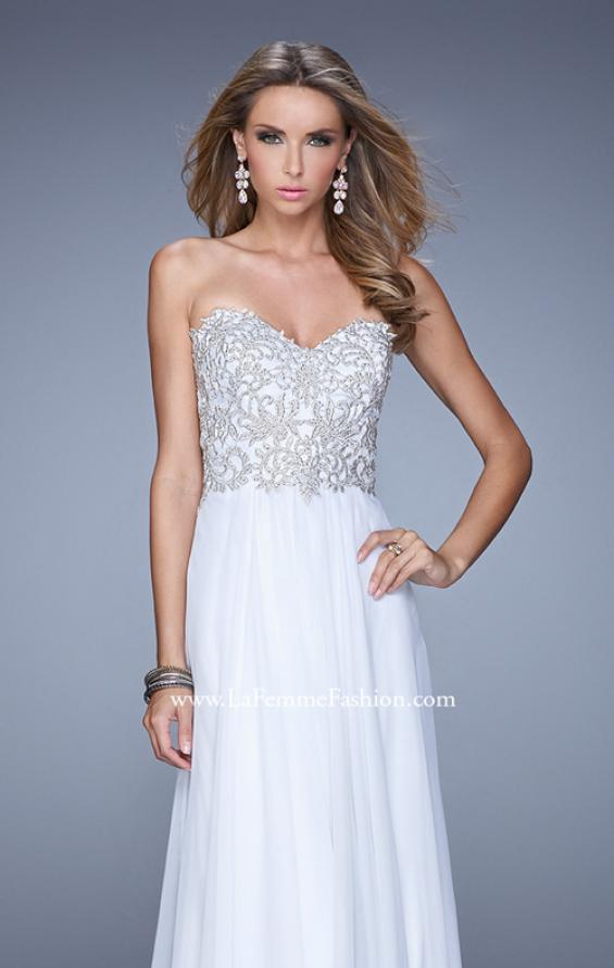 Picture of: Embellished Strapless Dress with Gathered Chiffon Skirt, Style: 20888, Detail Picture 3