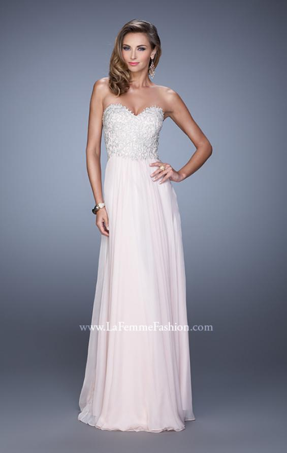 Picture of: Embellished Strapless Dress with Gathered Chiffon Skirt, Style: 20888, Detail Picture 4