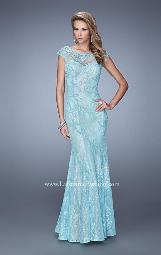 Picture of: Lace Dress with Vintage Inspired Pearls and Cap Sleeves, Style: 20892, Main Picture