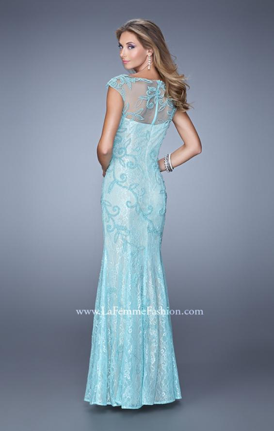 Picture of: Lace Dress with Vintage Inspired Pearls and Cap Sleeves, Style: 20892, Back Picture