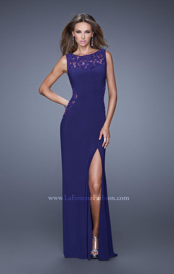 Picture of: Jersey Prom Dress with Sheer Side and Neckline Panels in Purple, Style: 20894, Main Picture