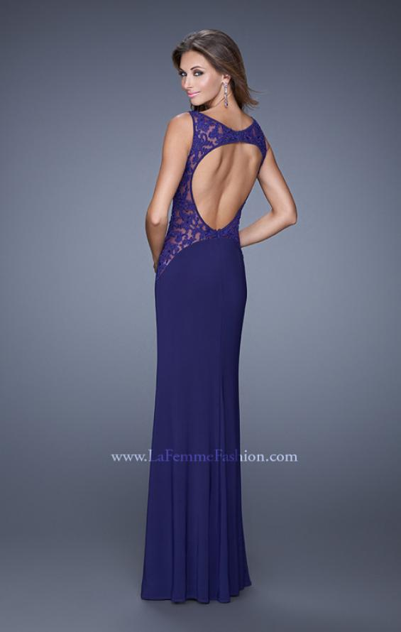 Picture of: Jersey Prom Dress with Sheer Side and Neckline Panels in Purple, Style: 20894, Back Picture