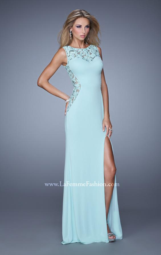Picture of: Jersey Prom Dress with Sheer Side and Neckline Panels in Aqua, Style: 20894, Detail Picture 1