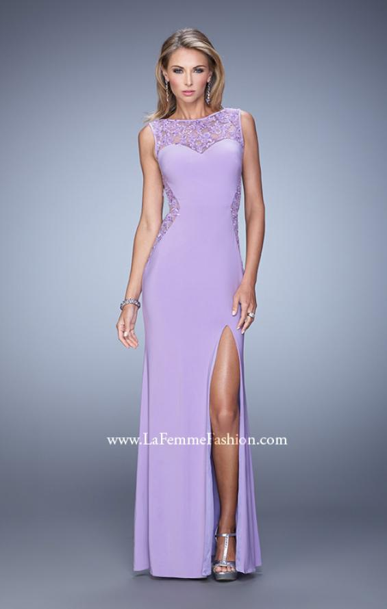 Picture of: Jersey Prom Dress with Sheer Side and Neckline Panels in Purple, Style: 20894, Detail Picture 2