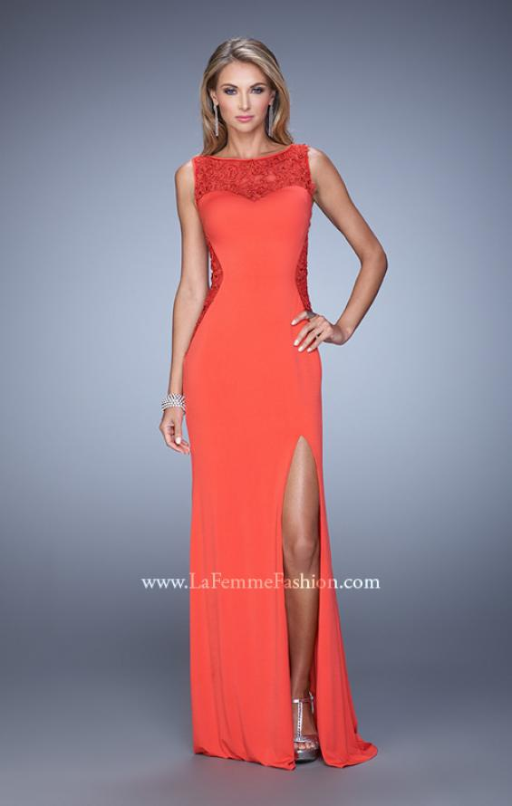 Picture of: Jersey Prom Dress with Sheer Side and Neckline Panels in Red, Style: 20894, Detail Picture 3