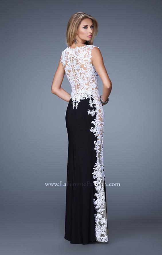 Picture of: Long Jersey Dress with Lace and Small Cap Sleeves in Black White, Style: 20895, Back Picture