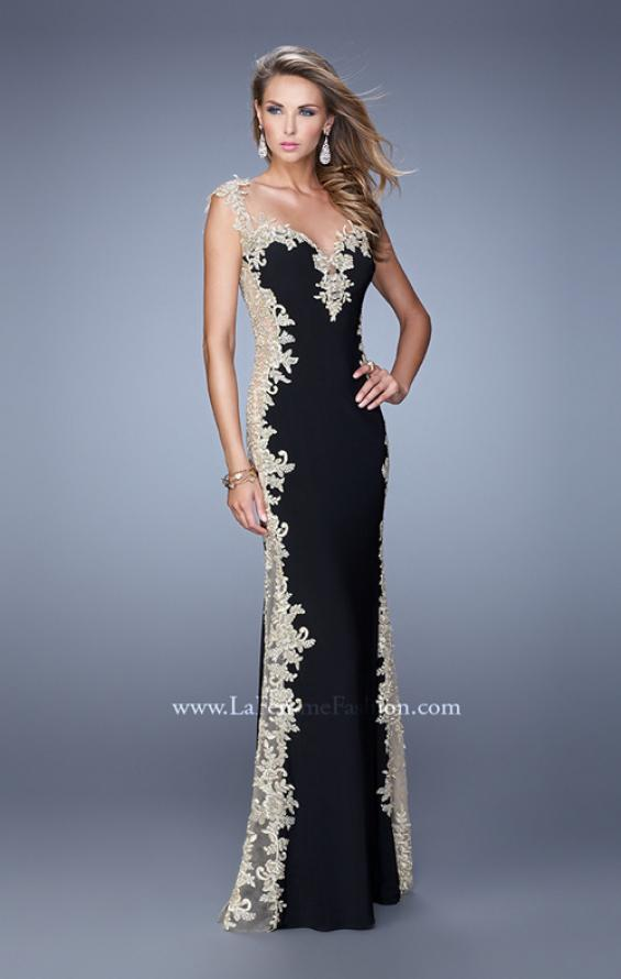 Picture of: Long Jersey Dress with Lace and Small Cap Sleeves in Black Gold, Style: 20895, Detail Picture 1