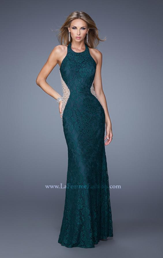 Picture of: Lace Halter Prom Gown with Crystal Beading in Blue, Style: 20896, Main Picture