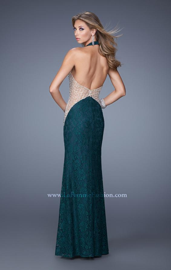 Picture of: Lace Halter Prom Gown with Crystal Beading in Blue, Style: 20896, Back Picture