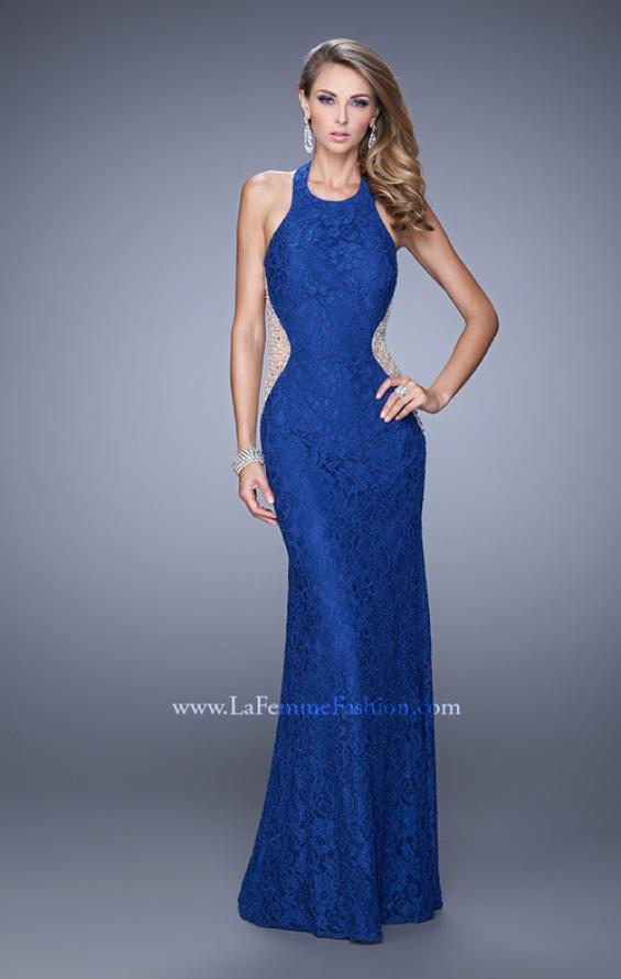 Picture of: Lace Halter Prom Gown with Crystal Beading in Blue, Style: 20896, Detail Picture 1