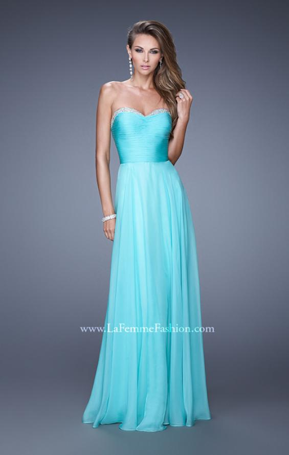 Picture of: Ruched and Beaded Long Chiffon Prom Dress, Style: 20901, Main Picture