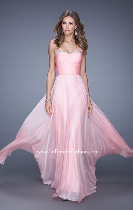 Picture of: Ruched and Beaded Long Chiffon Prom Dress, Style: 20901, Detail Picture 1