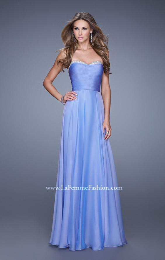 Picture of: Ruched and Beaded Long Chiffon Prom Dress, Style: 20901, Detail Picture 2