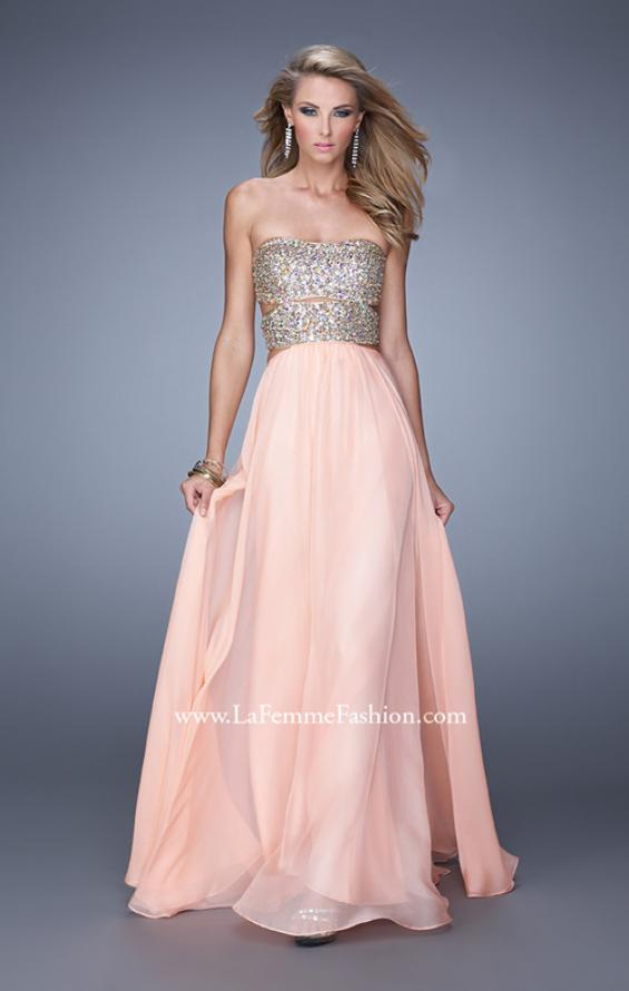 Picture of: Strapless Prom Gown with Cut Outs and Sequins, Style: 20904, Main Picture