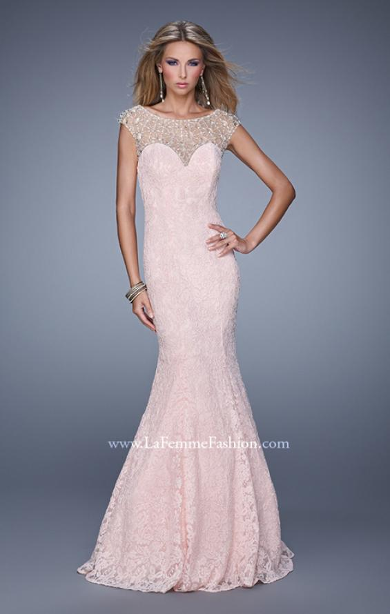 Picture of: Long Lace Cap Sleeve Mermaid Gown with Beading in Pink, Style: 20905, Main Picture