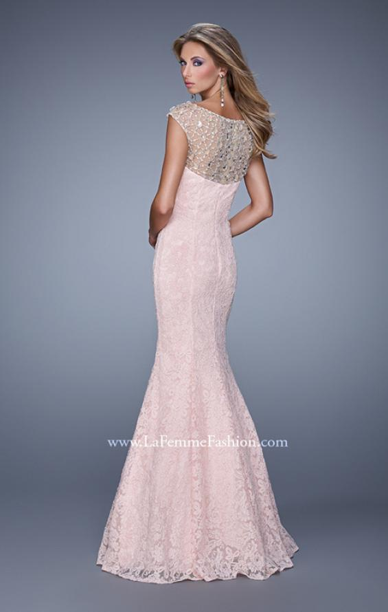 Picture of: Long Lace Cap Sleeve Mermaid Gown with Beading in Pink, Style: 20905, Back Picture