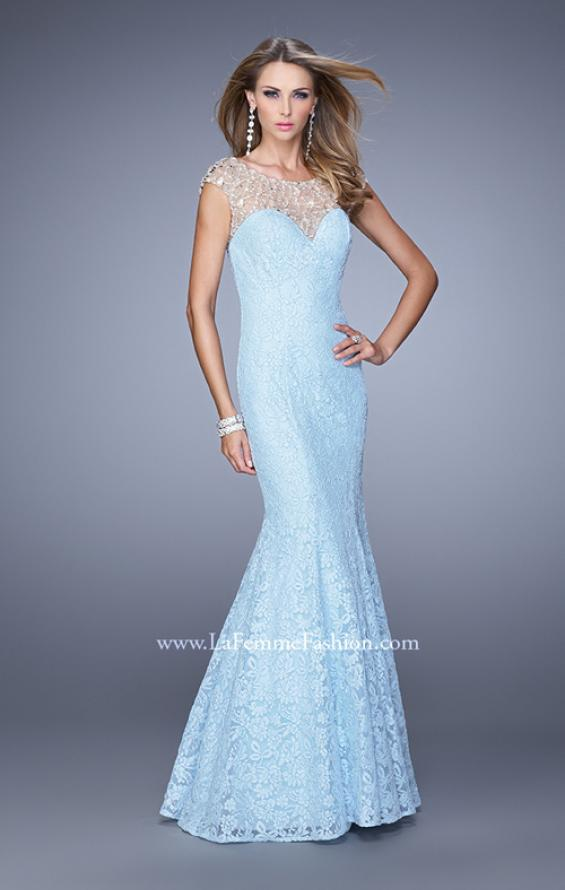 Picture of: Long Lace Cap Sleeve Mermaid Gown with Beading in Powder Blue, Style: 20905, Detail Picture 1