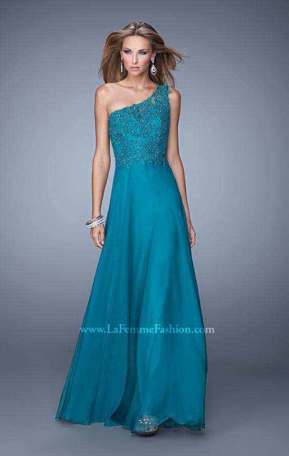 Picture of: Long One Shoulder Chiffon Dress with Sheer Strap and Back, Style: 20907, Main Picture