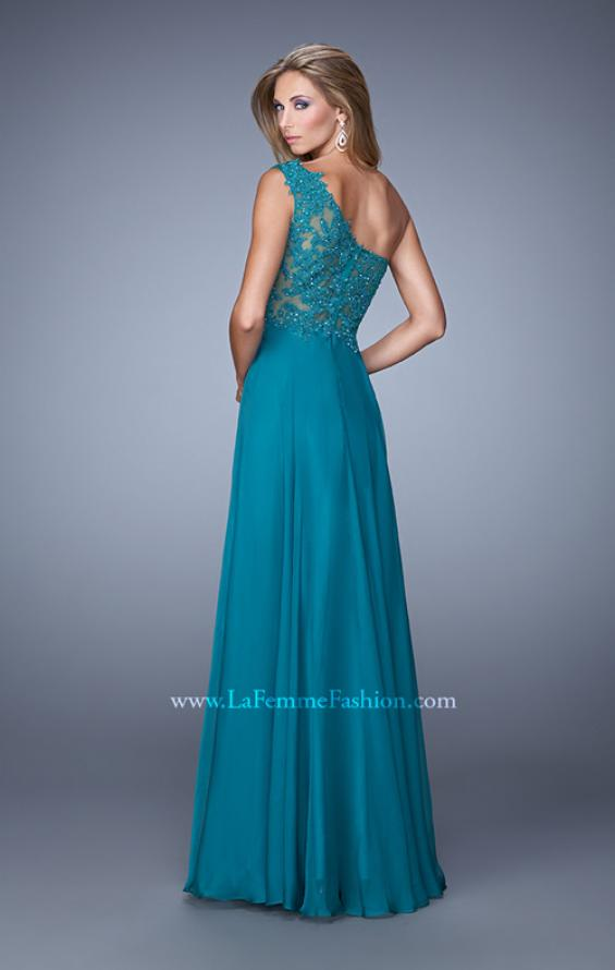 Picture of: Long One Shoulder Chiffon Dress with Sheer Strap and Back, Style: 20907, Back Picture