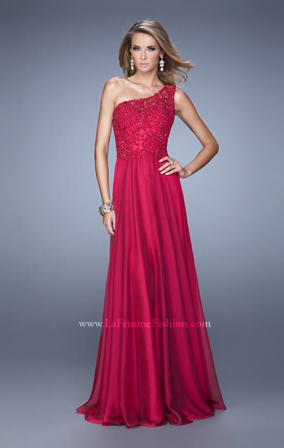 Picture of: Long One Shoulder Chiffon Dress with Sheer Strap and Back, Style: 20907, Detail Picture 1