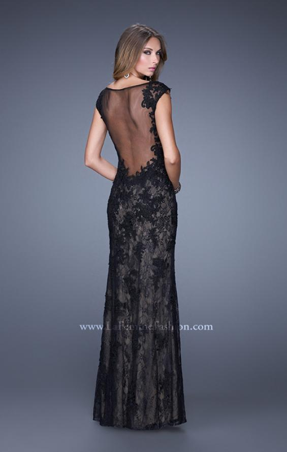 Picture of: Lace Prom Dress with Sheer Lace Cap Sleeves in Black, Style: 20914, Back Picture