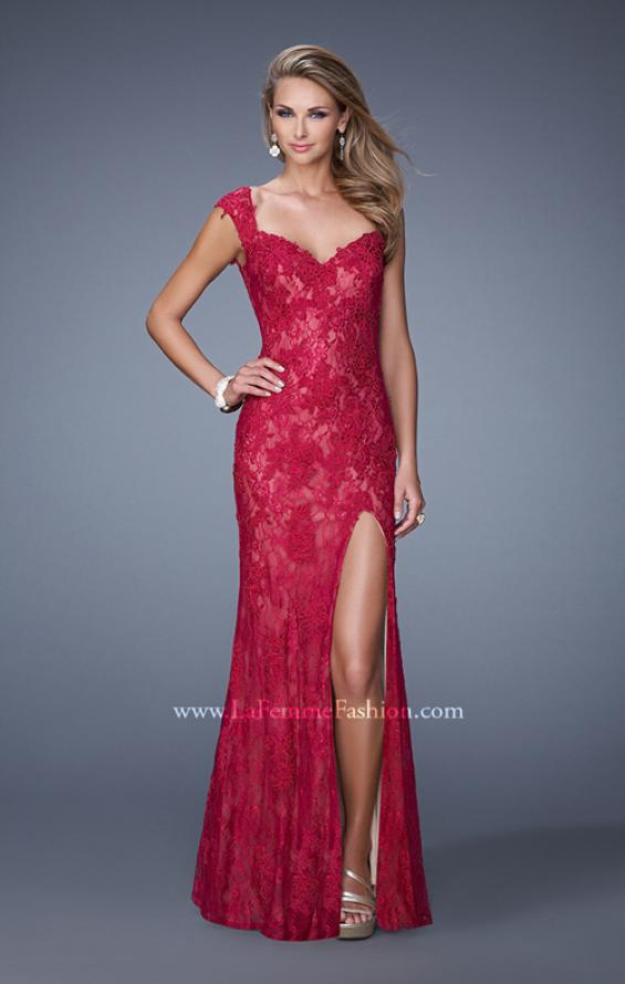 Picture of: Lace Prom Dress with Sheer Lace Cap Sleeves in Red, Style: 20914, Detail Picture 1
