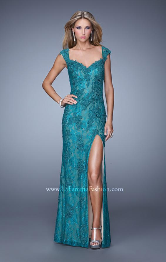 Picture of: Lace Prom Dress with Sheer Lace Cap Sleeves in Teal, Style: 20914, Detail Picture 2