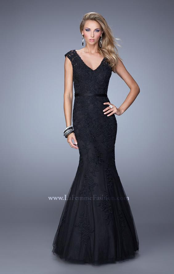 Picture of: Long Lace Sleeveless Mermaid Dress with V Neckline in Black, Style: 20918, Main Picture